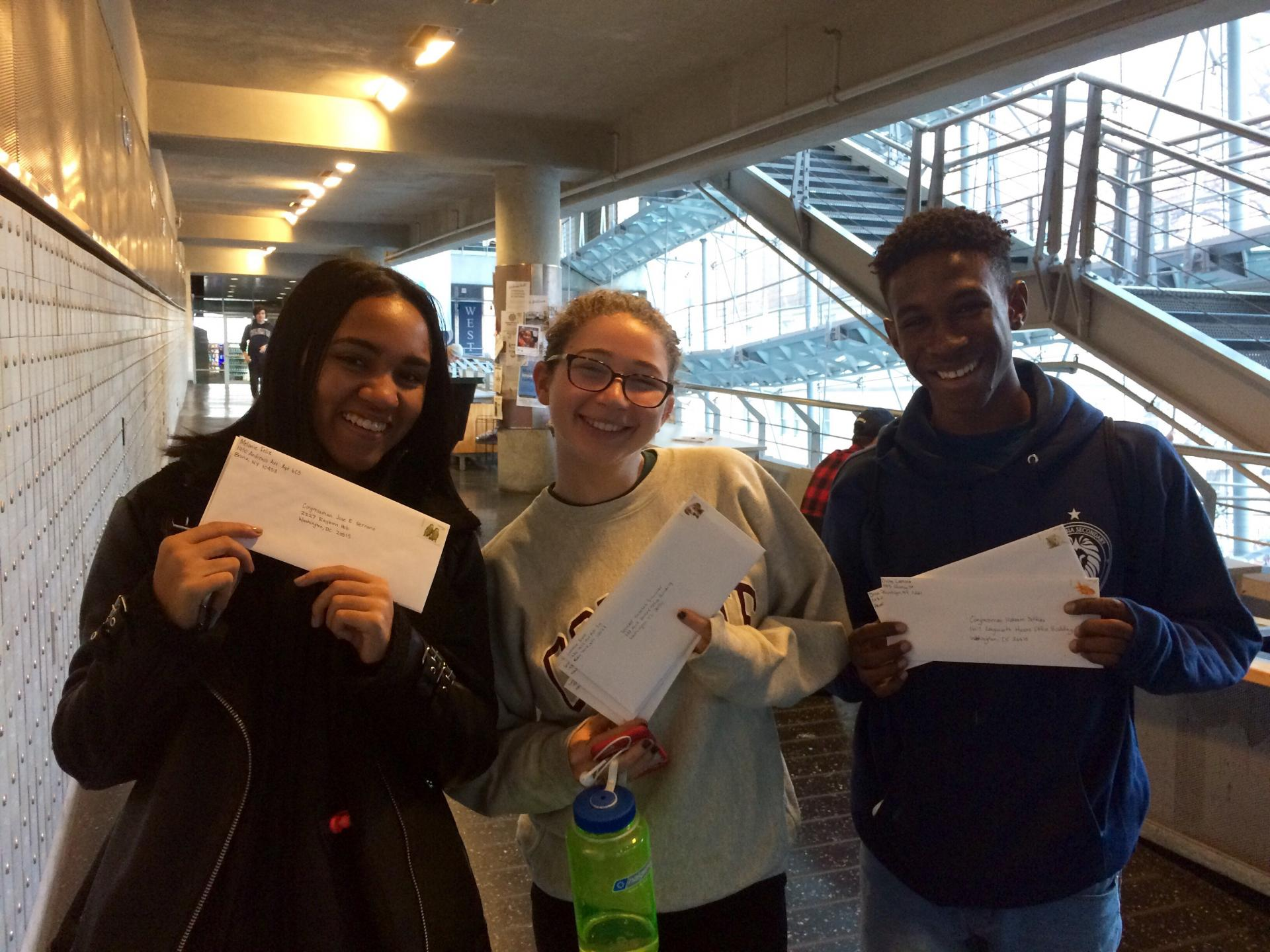 Students sending letters to their representatives