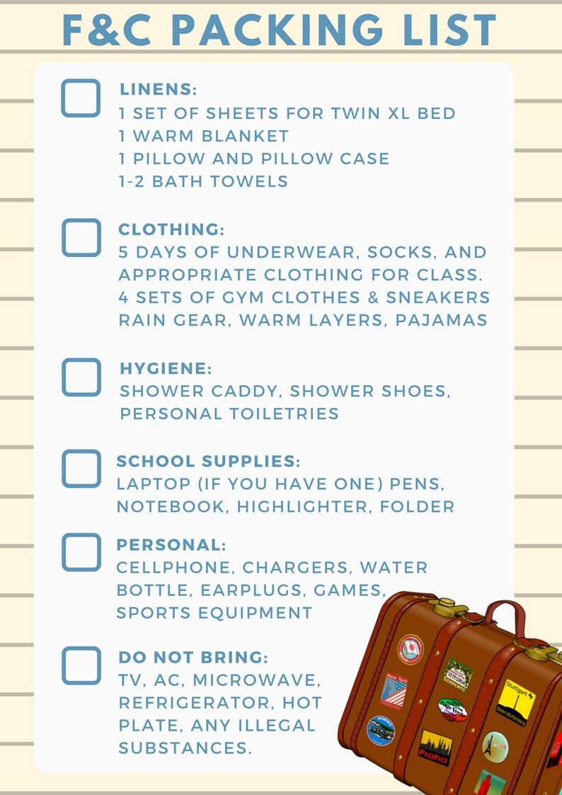Packing List for F&C